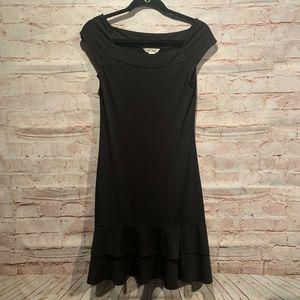 WHBM dress XS black LBD ruffles drop waist career